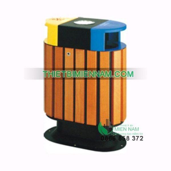 Thùng rác gỗ 2 ngăn có gạt tàn A78E 1