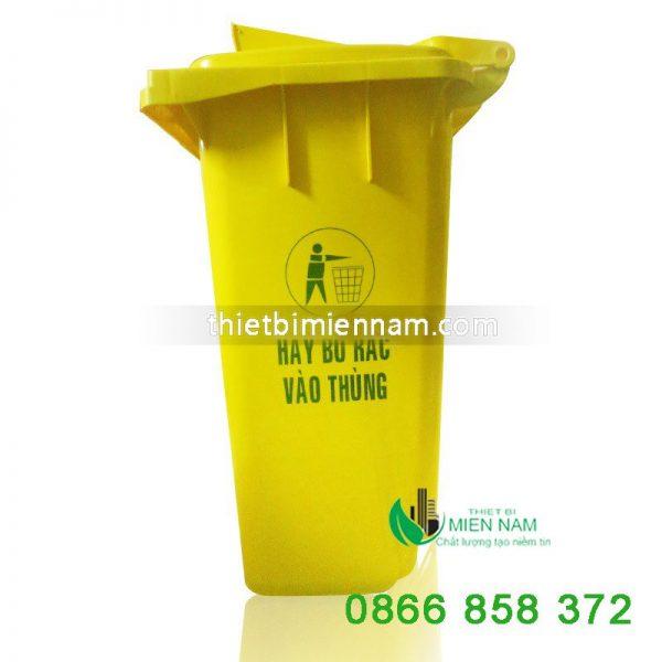 Thùng rác nhựa 120l mầu vàng 1