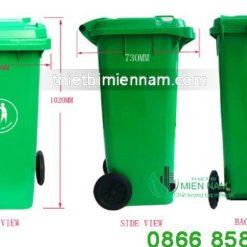 Thùng rác 240l mầu xanh 9