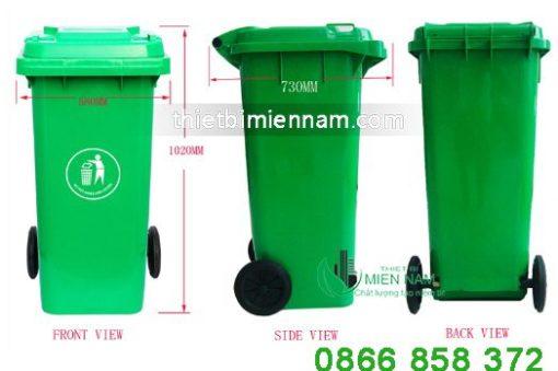 Thùng rác 240l mầu xanh 5