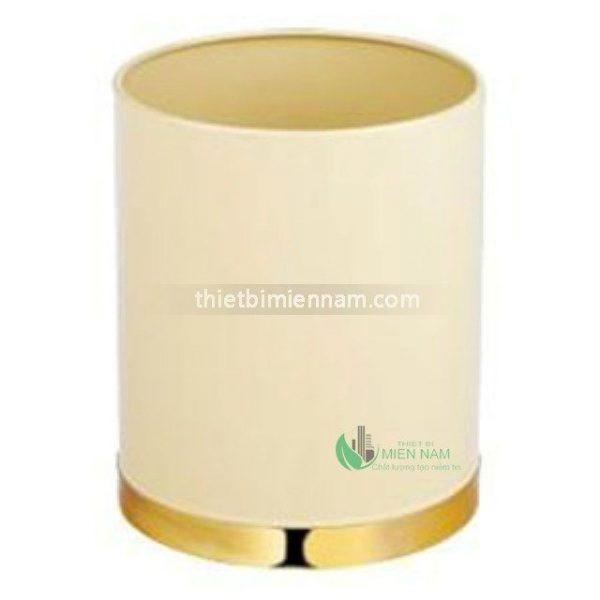 Thùng rác thép phun sơn tĩnh điện đế inox mạ vàng 1