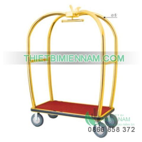 Xe đẩy hành lý inox mạ vàng D15 1