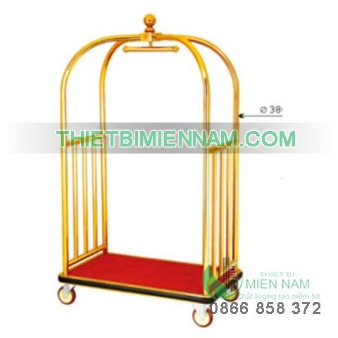 Xe đẩy hành lý inox mạ vàng D11 1