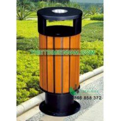thùng rác gỗ đơn ngoài trời