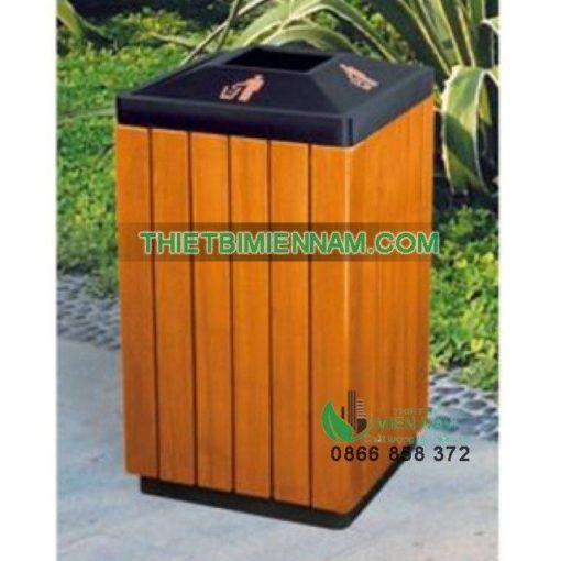 thùng rác gỗ ngoài trời