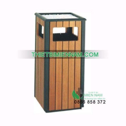 Thùng rác gỗ ngoài trời có gạt tàn