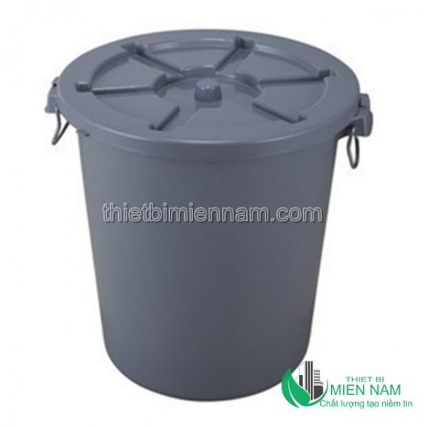 Thùng rác nhựa tròn 65l mầu đen 1