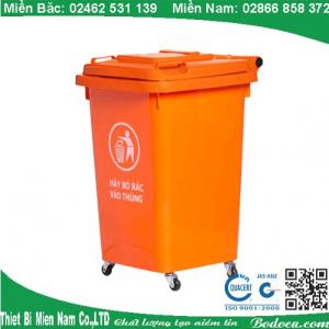 Thùng rác nhựa 60L nắp kín có bánh xe giá rẻ tại Sài Gòn 5