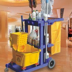 Xe đẩy dọn vệ sinh 3 tầng, xe dọn vệ sinh bằng nhựa nhập nhẩu 5