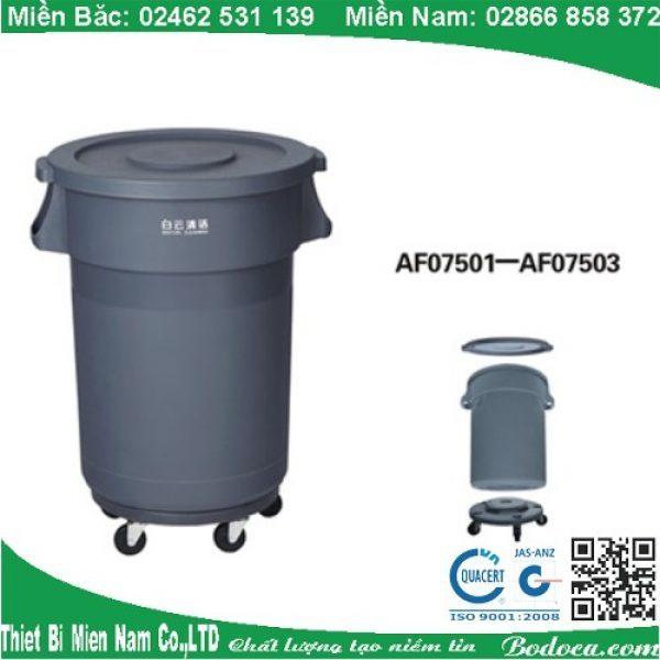 Thùng rác nhựa tròn 120l nắp kín có bánh xe AF075012 1