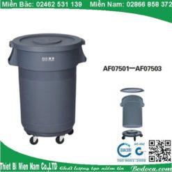 Thùng rác nhựa tròn 80l nắp kín có bánh xe AF07503 3