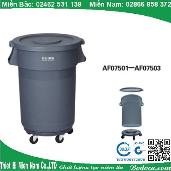 Thùng rác nhựa tròn 80l nắp kín có bánh xe AF07503 1