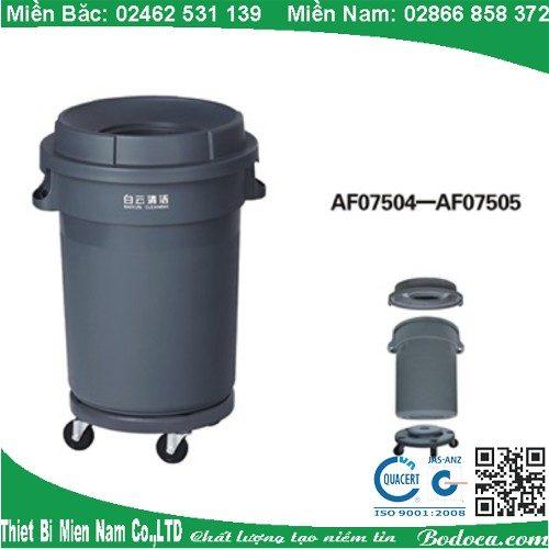 Thùng rác nhựa tròn 120l nắp kín có bánh xe AF075012 4