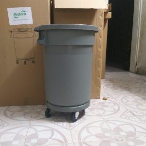 Thùng rác tròn có bánh xe 80L